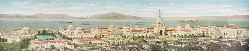 """Panoramic View of the Panama-Pacific International Exposition — San Francisco, California, 1915,"" 1915. Published by Pacific Novelty Company. Color letterpress halftone. Fine Arts Museums of San Francisco, gift of Barbara Jungi in memory of Elsie F. Miller"