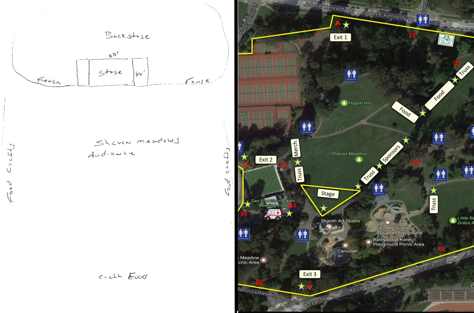 "Left: Boots Hughston's site map for Summer of Love, which the San Francisco Recreation and Parks Department requires, but called ""inadequate."" Right: a site map for the 4/20 event at Sharon Meadows this year, which was produced by the vendor for the event, not Rec and Park. (Courtesy Boots Hughston/Rec and Park)"