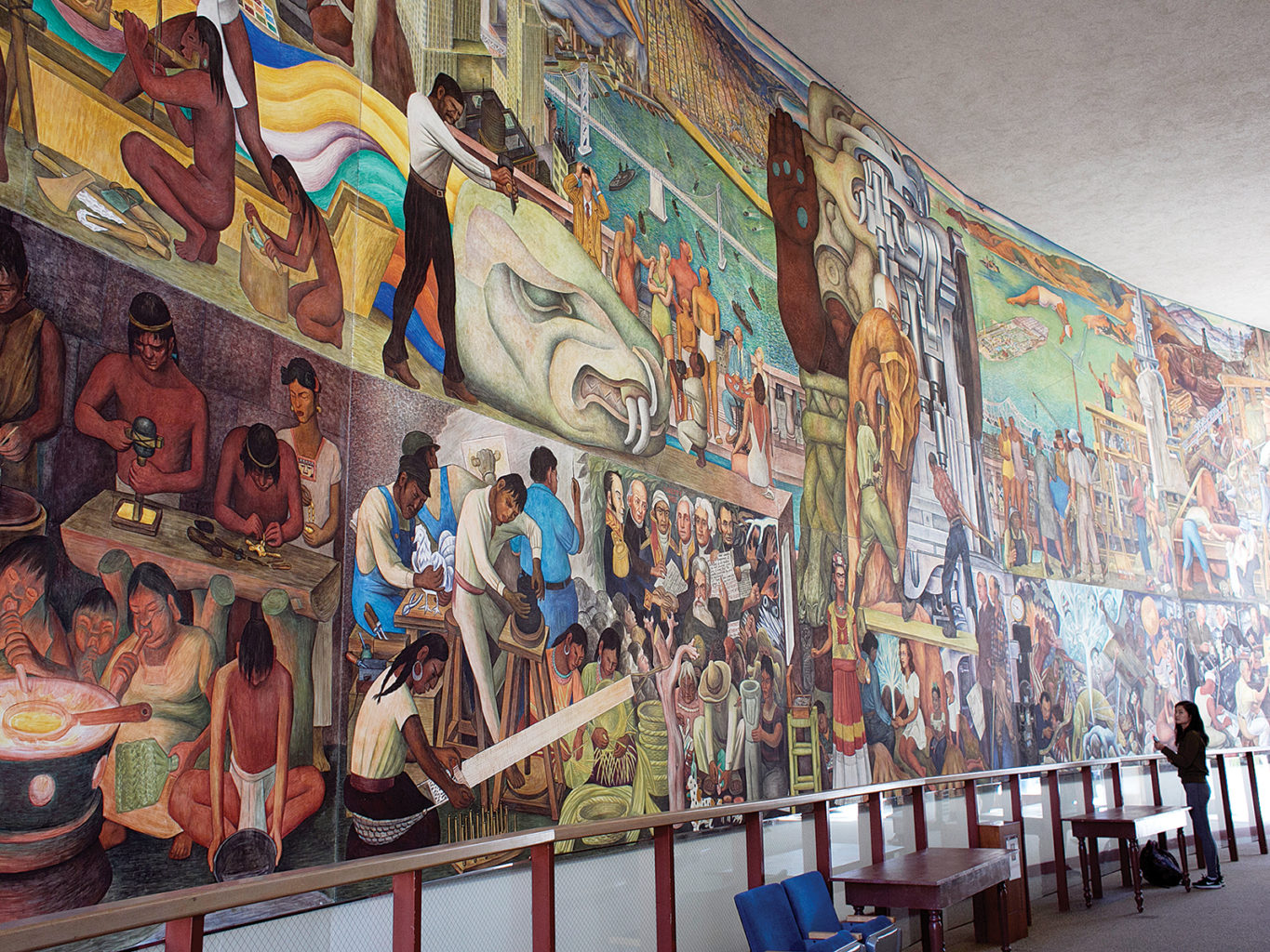 """Diego Rivera's """"Pan-American Unity"""" mural, painted in  1940, will be permanently moved to CCSF's planned Performing Arts Education Center after its SFMOMA run ends.  (James Chan/Special to S.F. Examiner)"""