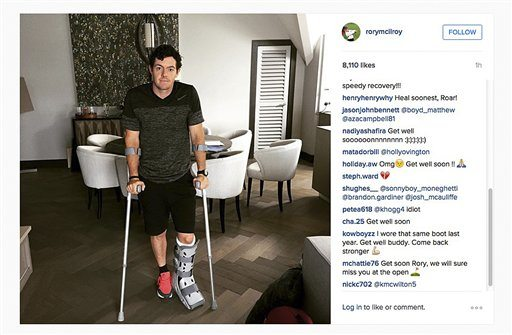 """McIlroy  ruptured a ligament in his left ankle while playing soccer less than two weeks before the start of his British Open title defense. The Northern Irish golfer gave no indication how long he would be out in the announcement Monday on his Instagram account, only saying that he is """"working hard to get back as soon as I can."""" (Rory McIlroy via AP)"""