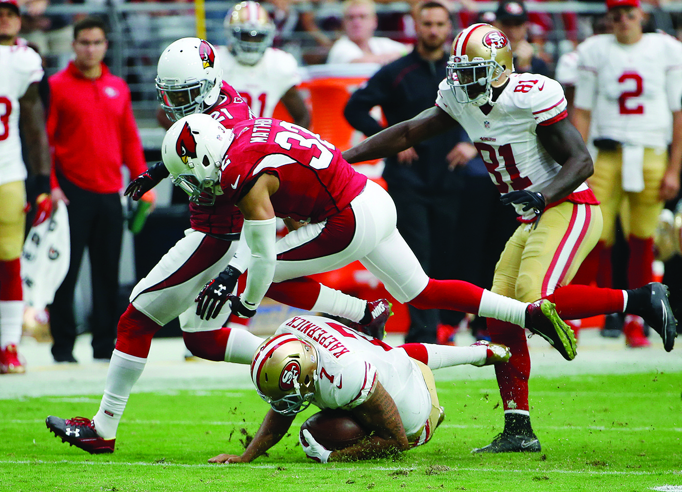Confidence in Colin Kaepernick never has been lower after his four-interception debacle Sunday in Arizona.  (AP Photo/Ross D. Franklin)