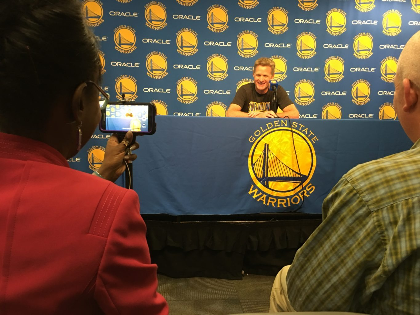 Steve Kerr takes the stage before a regular season matchup. By Karl Buscheck.