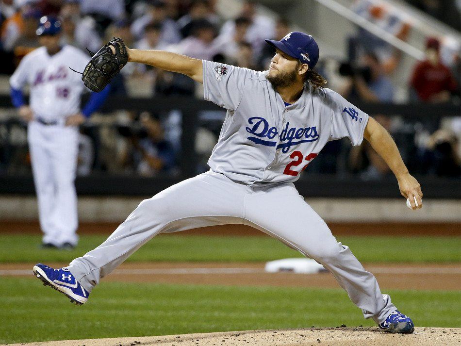 Dodgers pitcher Clayton Kershaw delivers against the New York Mets during the first inning of baseball's Game 4 of the National League Division Series, Tuesday, Oct. 13, 2015, in New York. (Kathy Willens/AP)