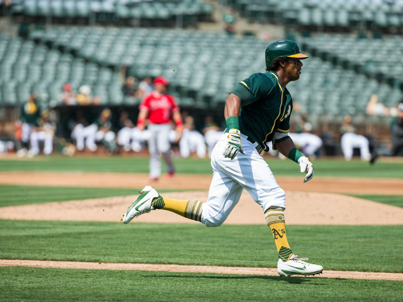 Khris Davis, seen here Sept. 6, topped his career high for home runs on Sunday. (Stan Olszewski/Special to S.F. Examiner)