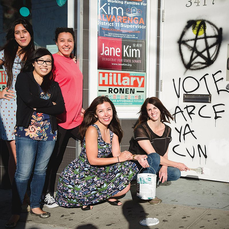 District 9 supervisor candidate Hillary Ronen, right, and staff, pose for a picture while painting over an offensive message that was painted on her campaign headquarters. (Courtesy facebook.com/hillary.ronen