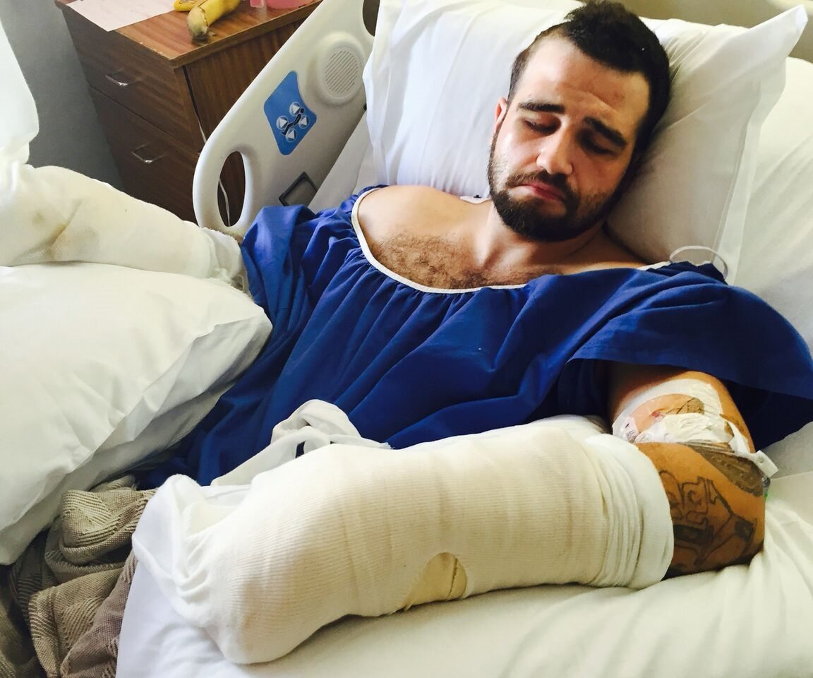 Stanislav Petrov in his hospital bed after the November 2015 beating. (Courtesy Michael Haddad)