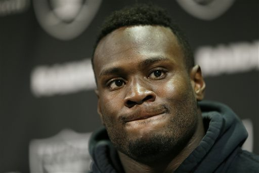 Oakland Raiders running back Latavius Murray listens during a news conference after mini camp at an NFL football facility. After being more of a spectator than participant his first two years in the NFL, Latavius Murray is ready to carry the load this season for the Raiders. (Eric Risberg/AP File Photo)