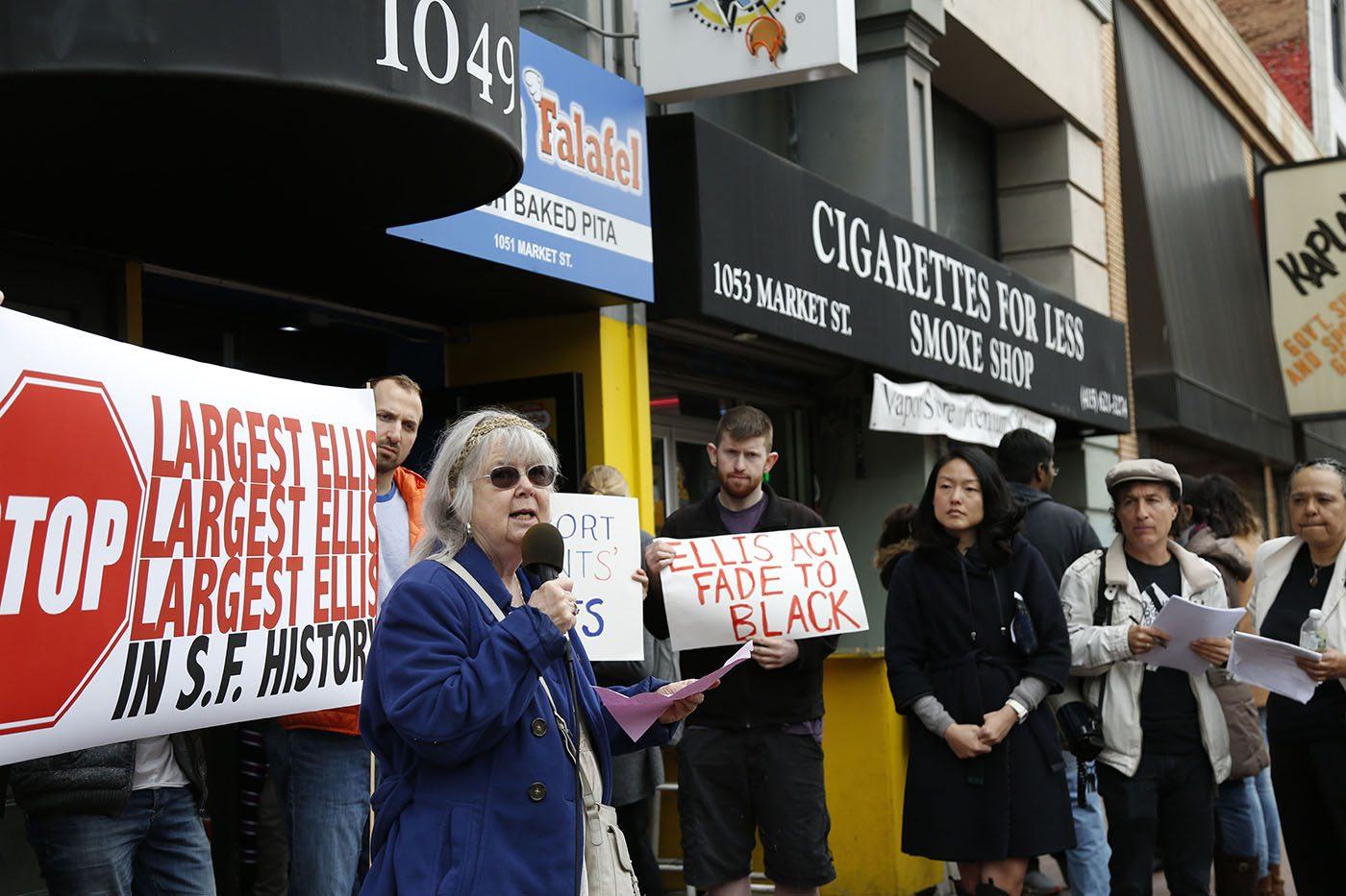 Naomi Cooper, resident of 1049 Market Street, speaks during the 1049 Market Street protest Tuesday, March 8, 2016 where 84 artist fight Ellis Act evictions. (Emma Chiang/Special to S.F. Examiner)