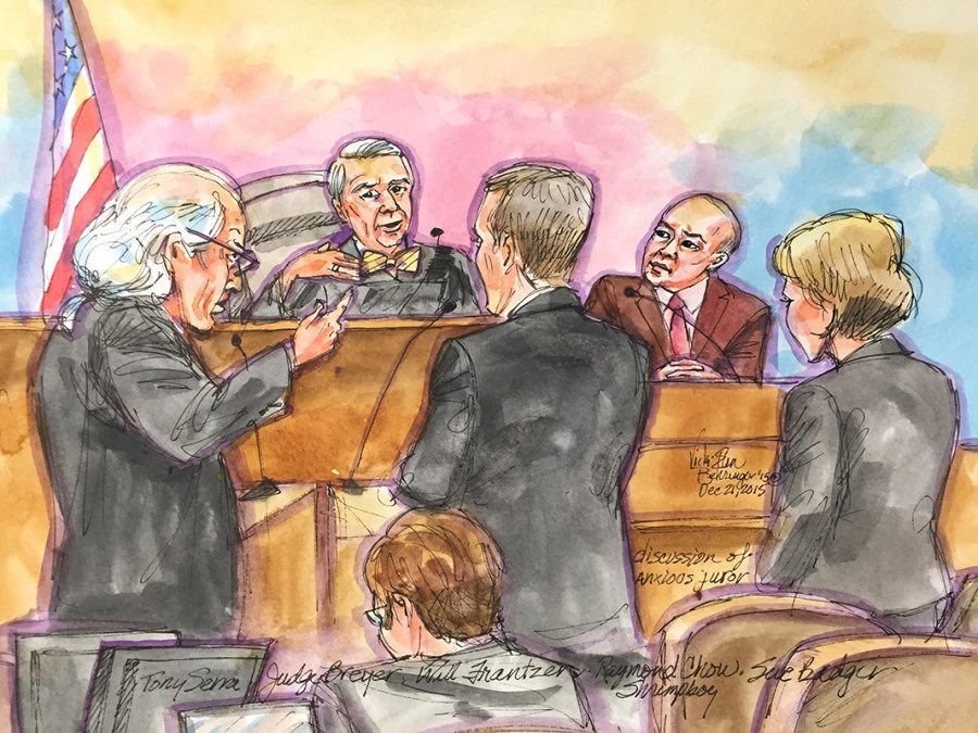 "Raymond ""Shrimp Boy"" Chow is shown being questioned by his defense attorney on Monday, Dec. 21 in a San Francisco federal courtroom.  Courtroom drawing by Vicki Ellen Behringer"