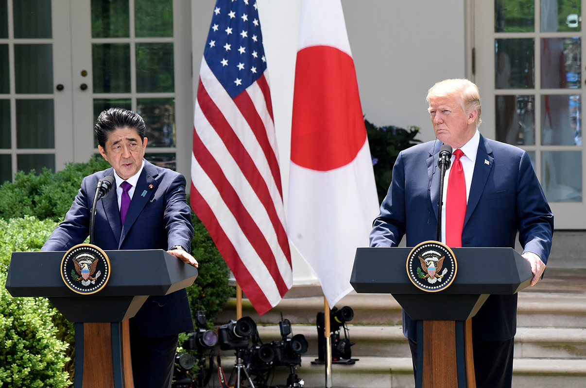 President Donald Trump holds a joint press conference with Japanese Prime Minister Shinzo Abe at the White House on Thursday, June 7, 2018 in Washington, D.C. (Olivier Douliery/Abaca Press/TNS)