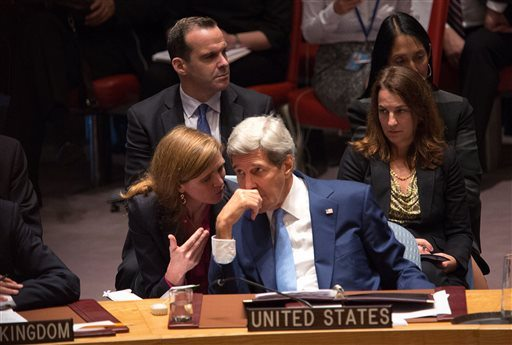 United States Secretary of State John Kerry speaks with United States Ambassador Samantha Power during the United Nations Security Council at the United Nations headquarters Wednesday, Sept. 30, 2015. (Kevin Hagen/AP)