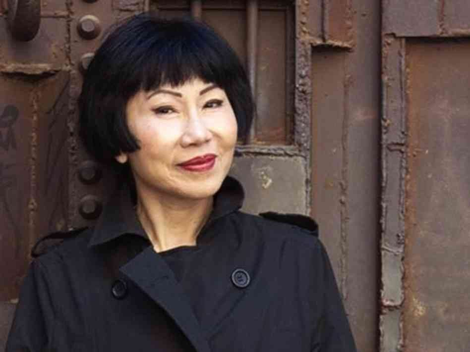 """Courtesy photoAmy Tan talks about her new book """"The Valley of Amazement"""" with Jan Yanehiro at Kepler's on Tuesday. The 600-page book queries into her family's history."""