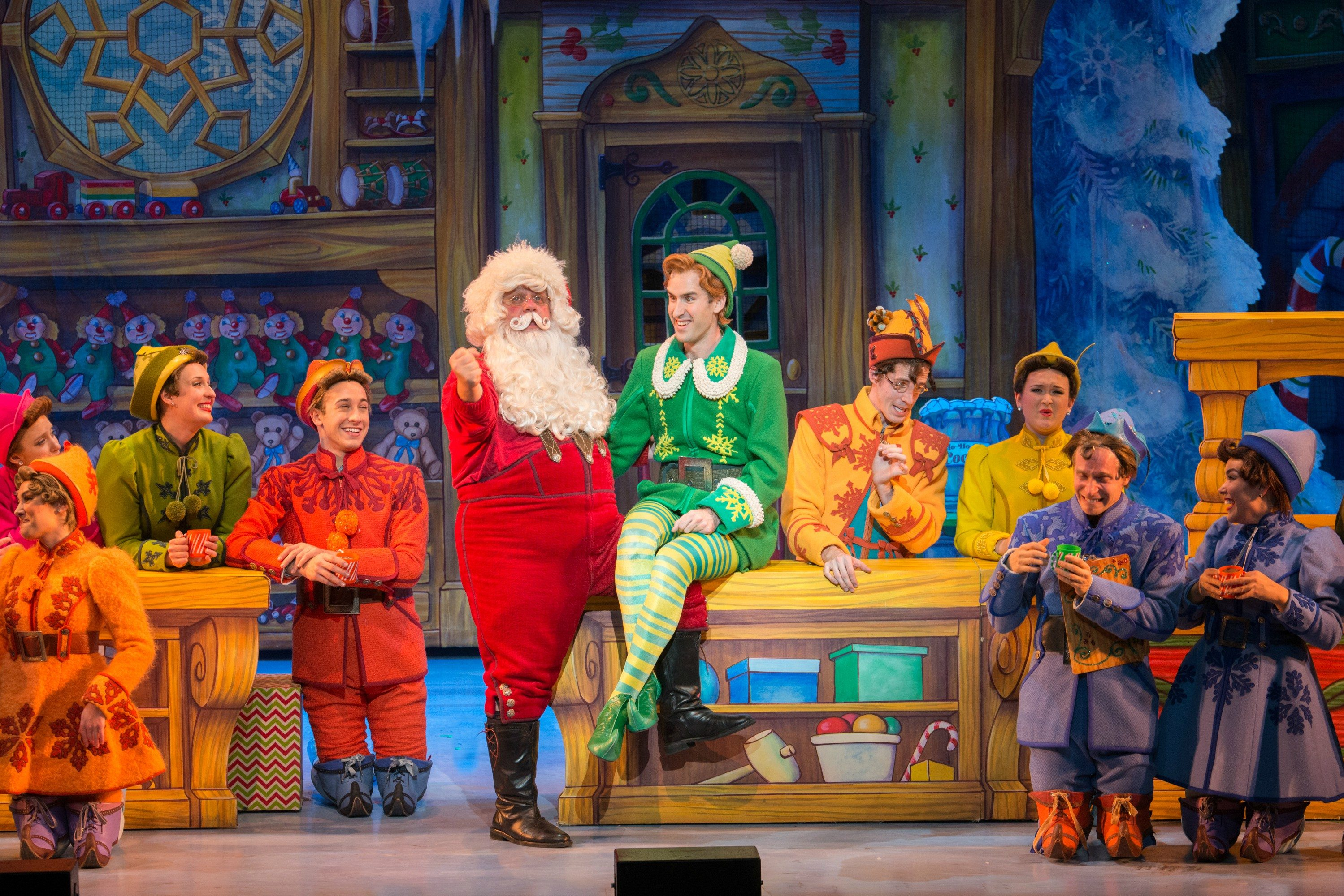 """COURTESY AMY BOYLE PHOTOGRAPHYKen Clement plays Santa and Eric Williams plays Buddy the elf in the stage musical """"Elf."""""""