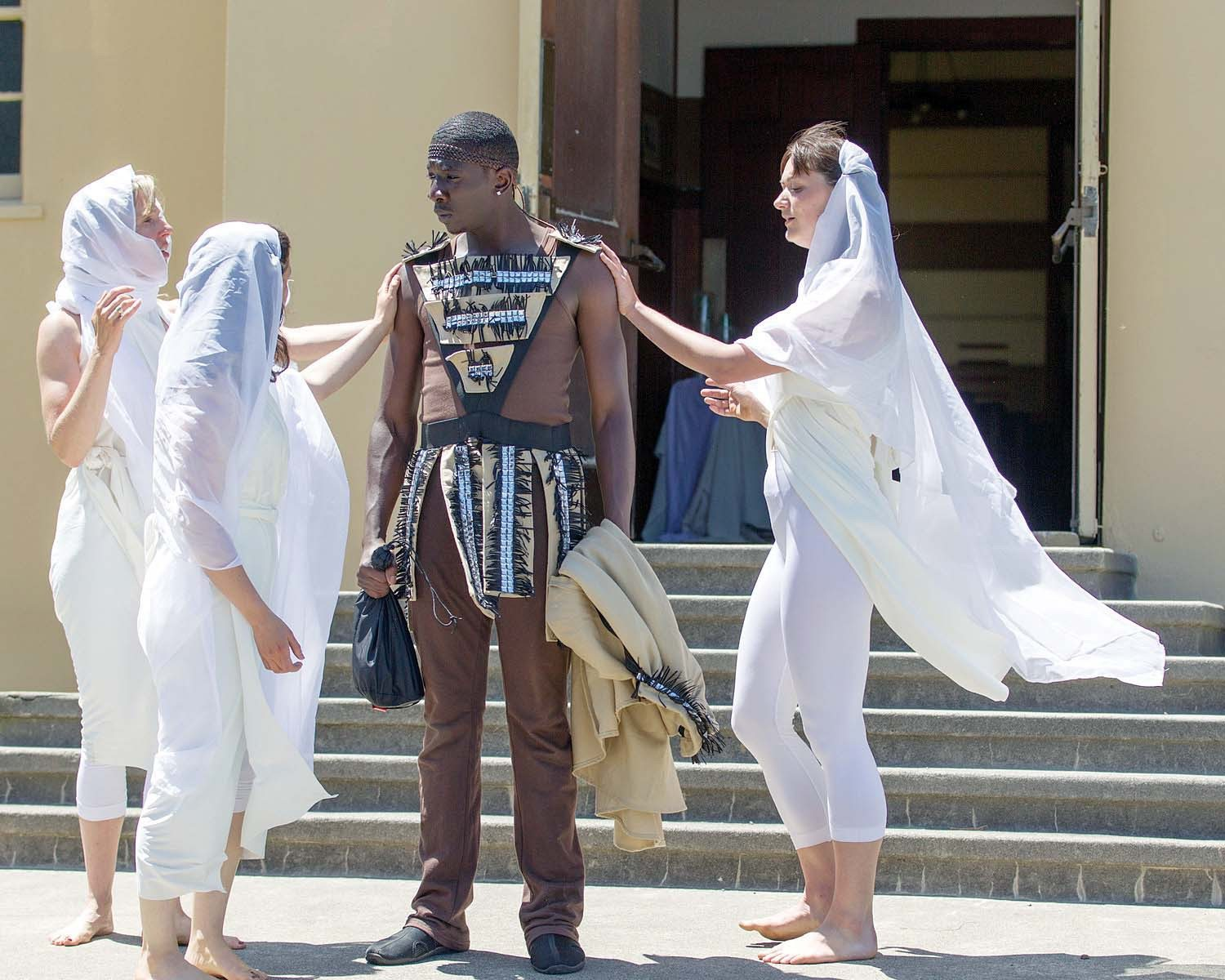 """COURTESY PHOTOSacred scene: Beauties anoint Prince Telemachus (James Udom) in """"The Odyssey on Angel Island"""