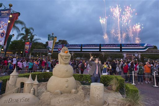 "DISNEY/APThis sandcastle of Olaf from ""Frozen"" at Walt Disney World probably earned more money than one of the film's young stars."