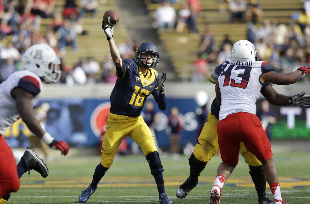 AP Photo/Jeff ChiuCalifornia quarterback Jared Goff (16) passes against Arizona during the second half of an NCAA college football game in Berkeley