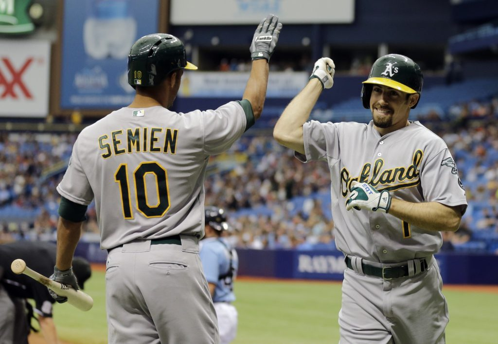 Chris O'Meara/APThe A's Billy Burns (1) celebrates with Marcus Semien (10) after hitting a first-inning home run against the Rays.