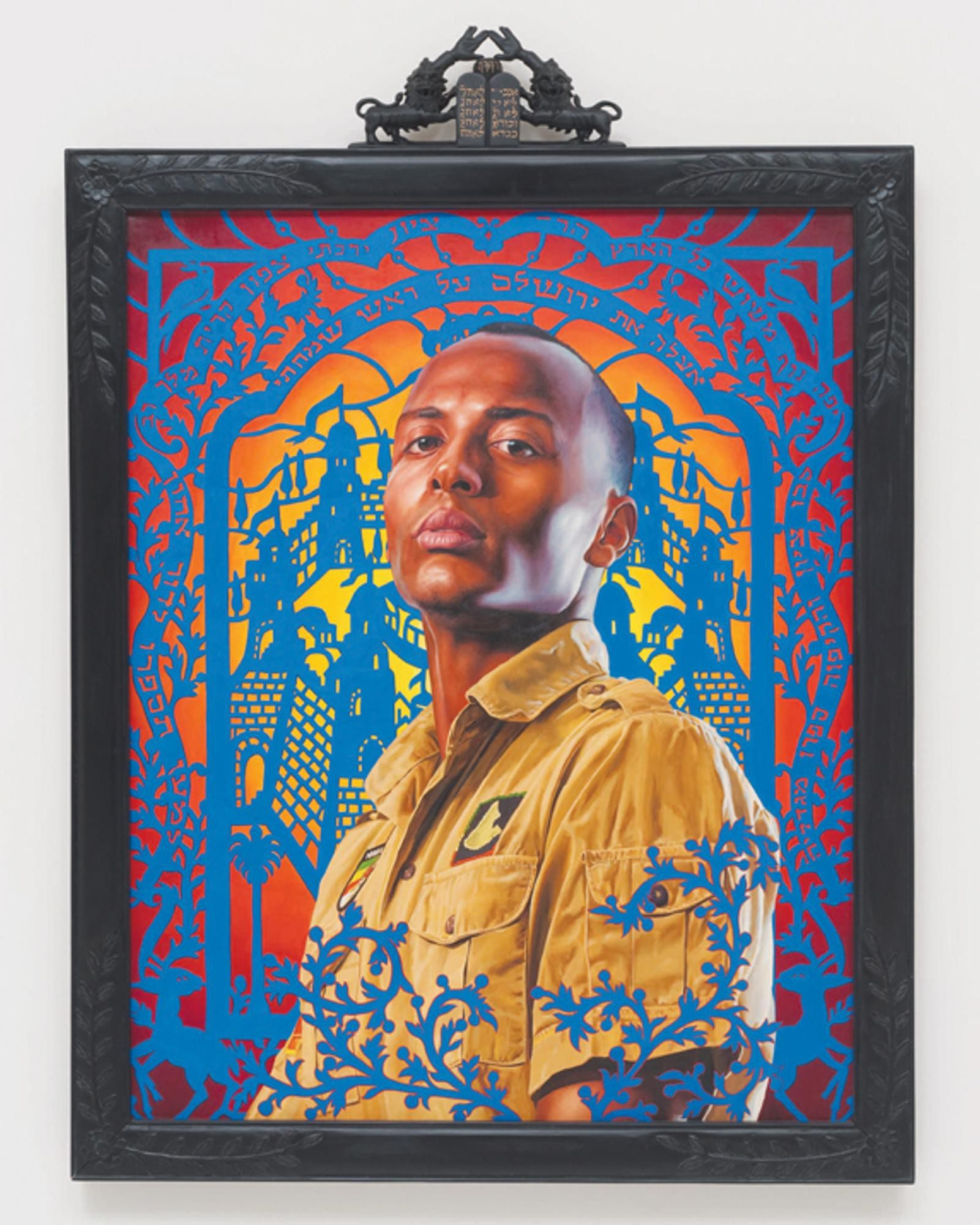 """Courtesy Photo""""Kalkidan Mashasha II"""" is a portrait of an Ethiopian hip hop musician on view in """"Kehinde Wiley /The World Stage: Israel"""" on view at the Contemporary Jewish Museum."""