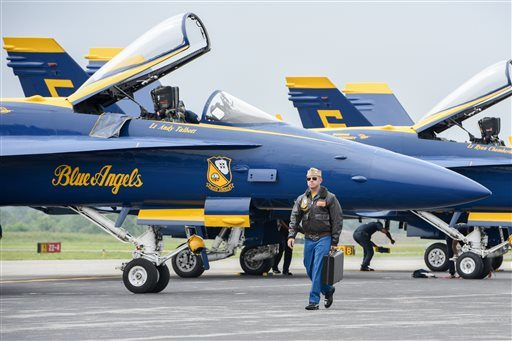 A Blue Angels F/A-18 fighter jet crashed Thursday near Nashville, Tennessee, killing the pilot just days before a weekend air show performance, officials said. (Matt Bell/The Register & Bee via AP, file)