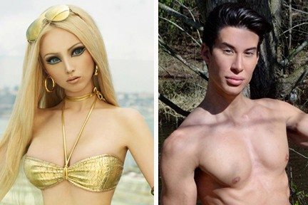 Photos from Facebook pages of Valeria Lukyanova and Justin JedlicaThe human versions of Barbie and Ken (Valeria Lukyanova and Justin Jedlica) immediately began fighting upon their meeting in New York City.