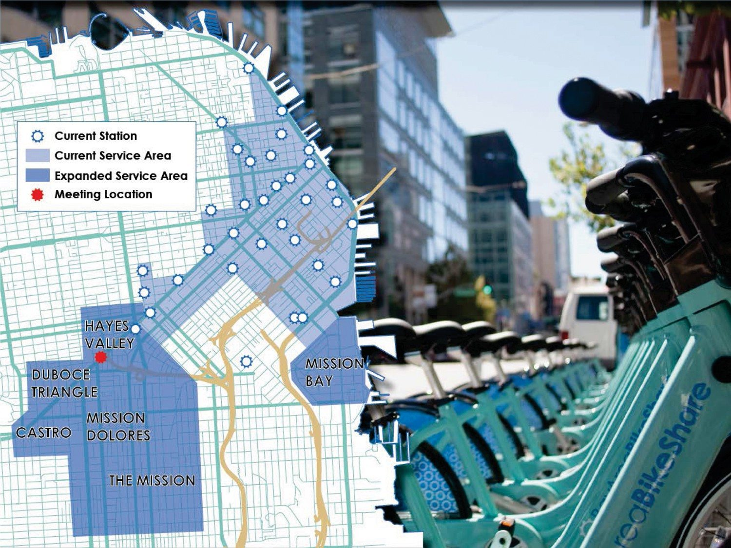 Courtesy renderingThe Bay Area Bike Share program will focus growth in the Mission