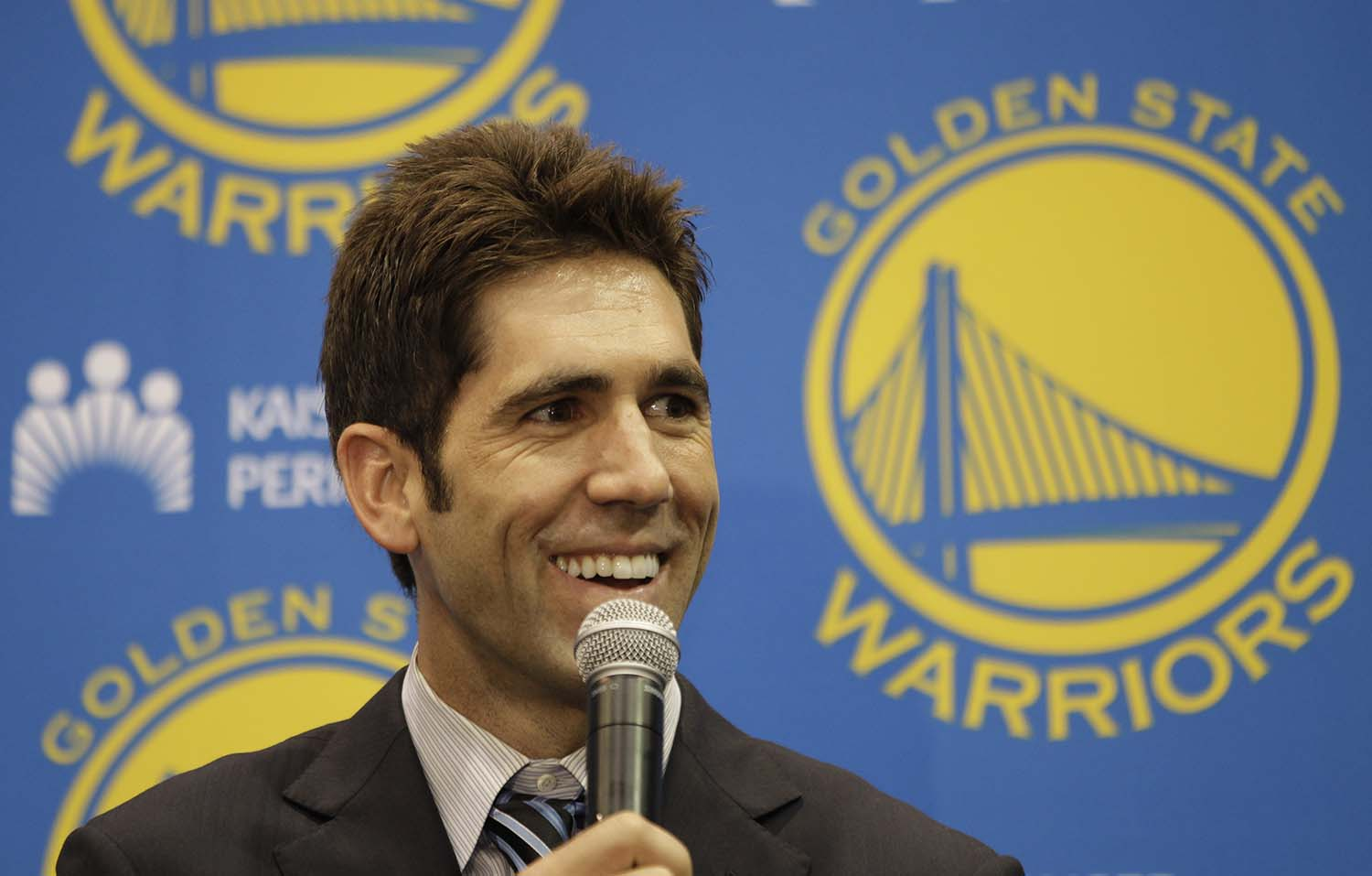 Golden State Warriors GM Bob Myers  during a news conference at Warriors headquarters in Oakland, Calif., Monday, July 2, 2012. (AP Photo/Paul Sakuma)