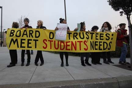 Anna Latino/Special to the S.F. ExaminerStudents protested during the CCSF board of trustees public debate on Thursday night.
