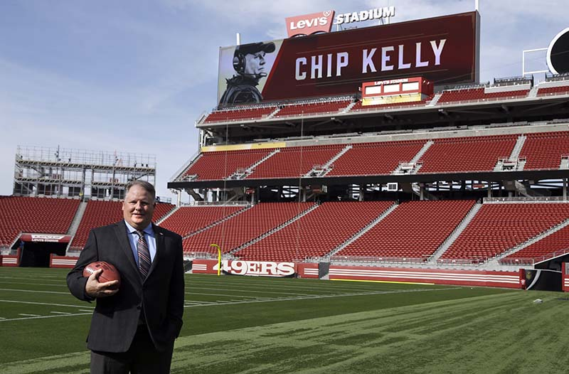 San Francisco 49ers new head coach Chip Kelly holds a football on the field at Levi Stadium on Wednesday. (AP Photo/Ben Margot)