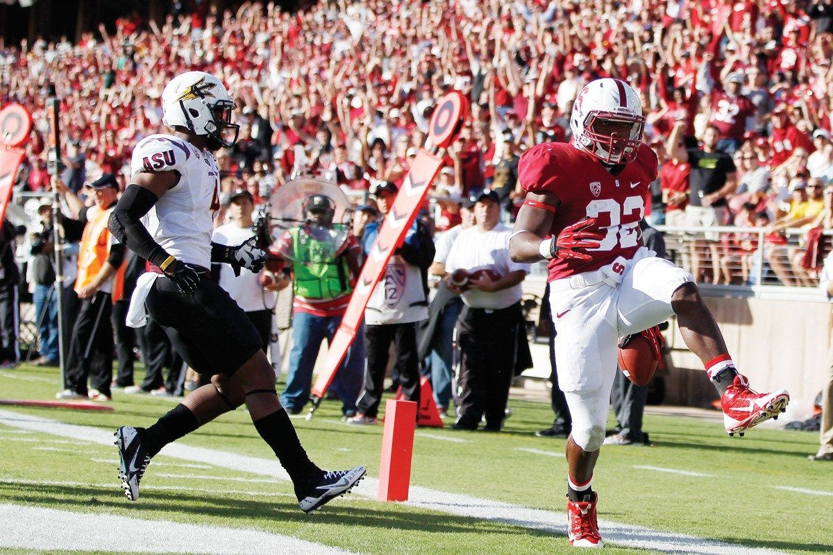 Stephen Lam/Getty Images file photoAnthony Wilkerson (32) scores a touchdown against Arizona State last week. The Cardinal look to continue their win streak against Washington State on Saturday.