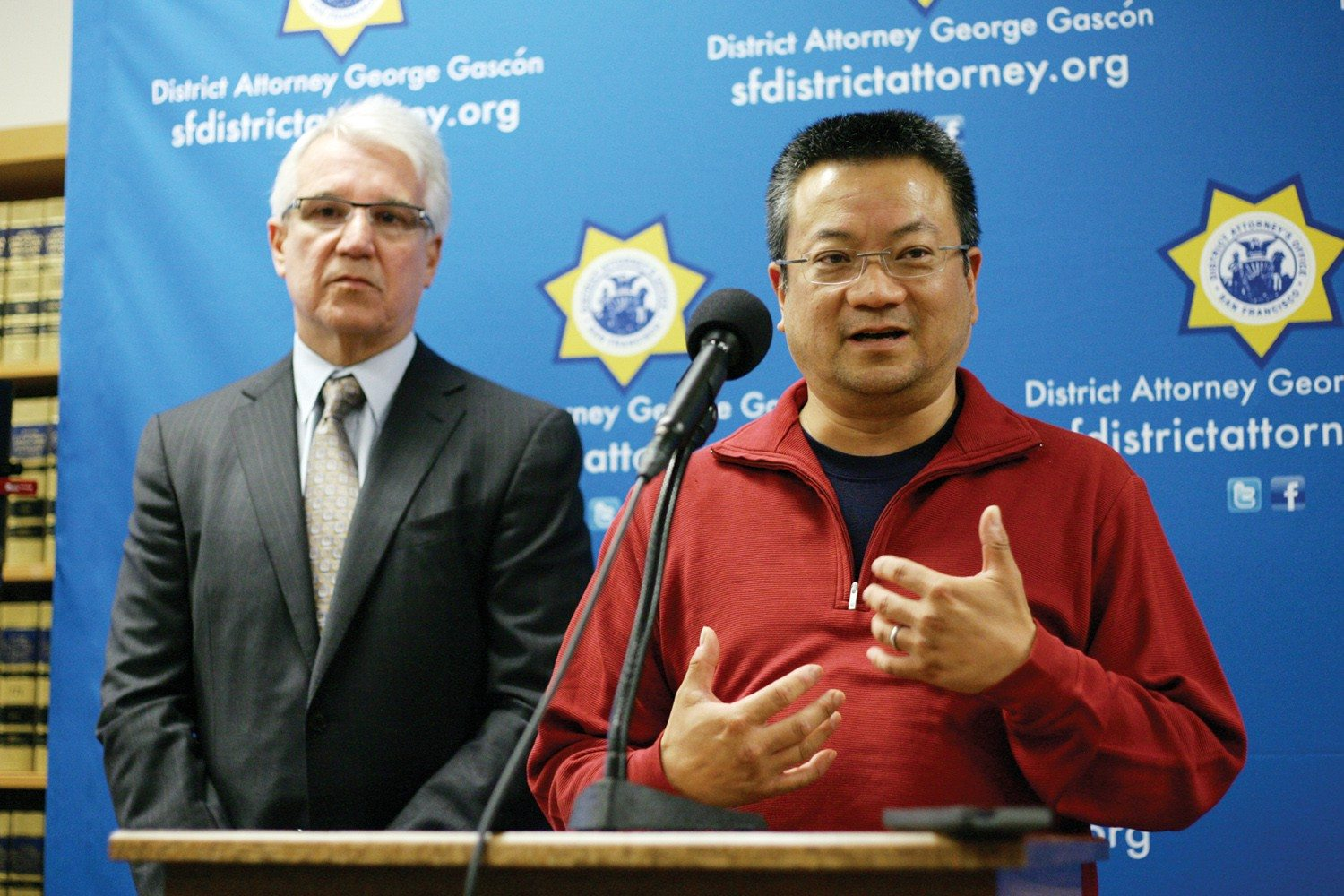 Mike Koozmin/The S.F. ExaminerSan Francisco District Attorney George Gascón and Terry Hui speak after Bucchere was sentenced.