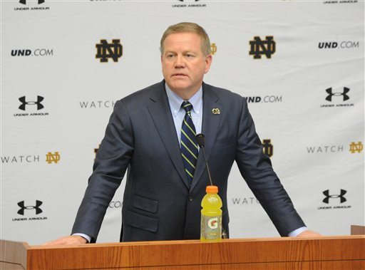 Joe Raymond/AP PhotoNotre Dame football coach Brian Kelly talks to the media about his 2015 recruiting class in South Bend