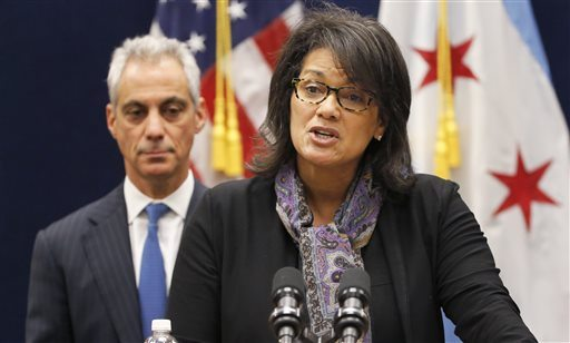 Sharon Fairley, newly-appointed leader of the Independent Police Review Authority, speaks during a news conference in front of Chicago Mayor Rahm Emanuel on Monday. (AP Photo/Charles Rex Arbogast)