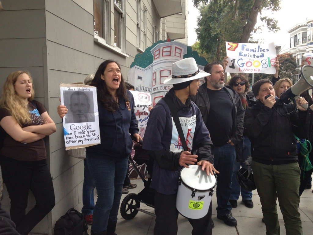 Jessica Kwong/S.F. Examiner file photoA Google bus and eviction protest targeted a landlord who is evicting at least two San Francisco teachers from their Mission Dolores home.