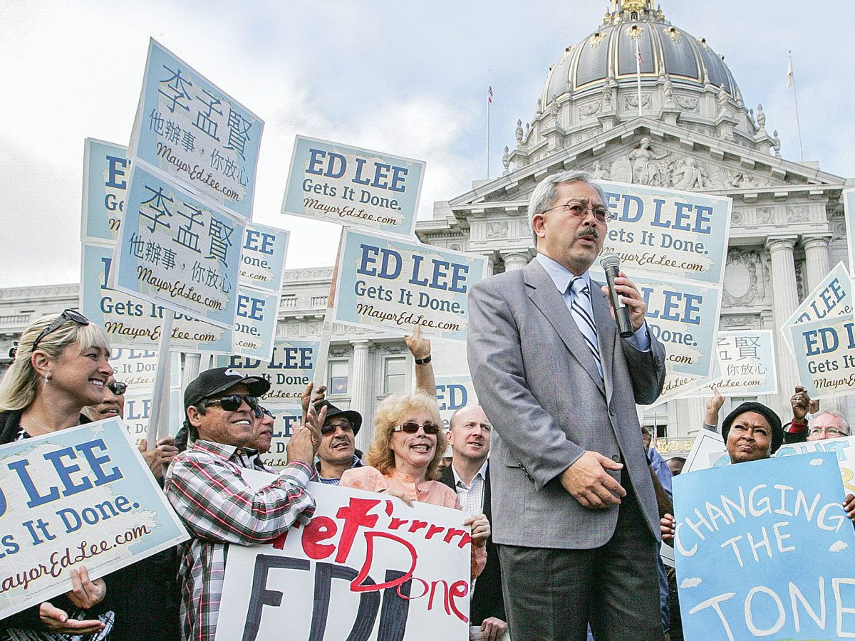 "San Francisco Mayor Ed Lee reportedly took ""substantial bribes in exchange for favors"" in relation to campaign finances, according to new documents from an FBI probe of Raymond ""Shrimp Boy"" Chow. (Mike Koozmin, 2011 S.F. Examiner)"