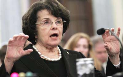 Sen. Dianne Feinstein testifies on Capitol Hill in Washington on Tuesday before the Senate Commerce