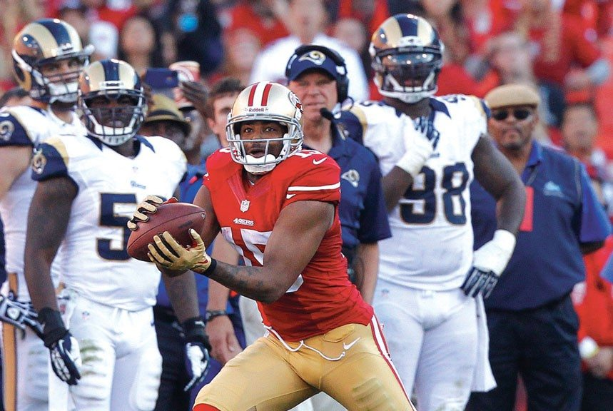 carry edmondson/usa today sportsMichael Crabtree caught two passes for 68 yards in his season debut Sunday.