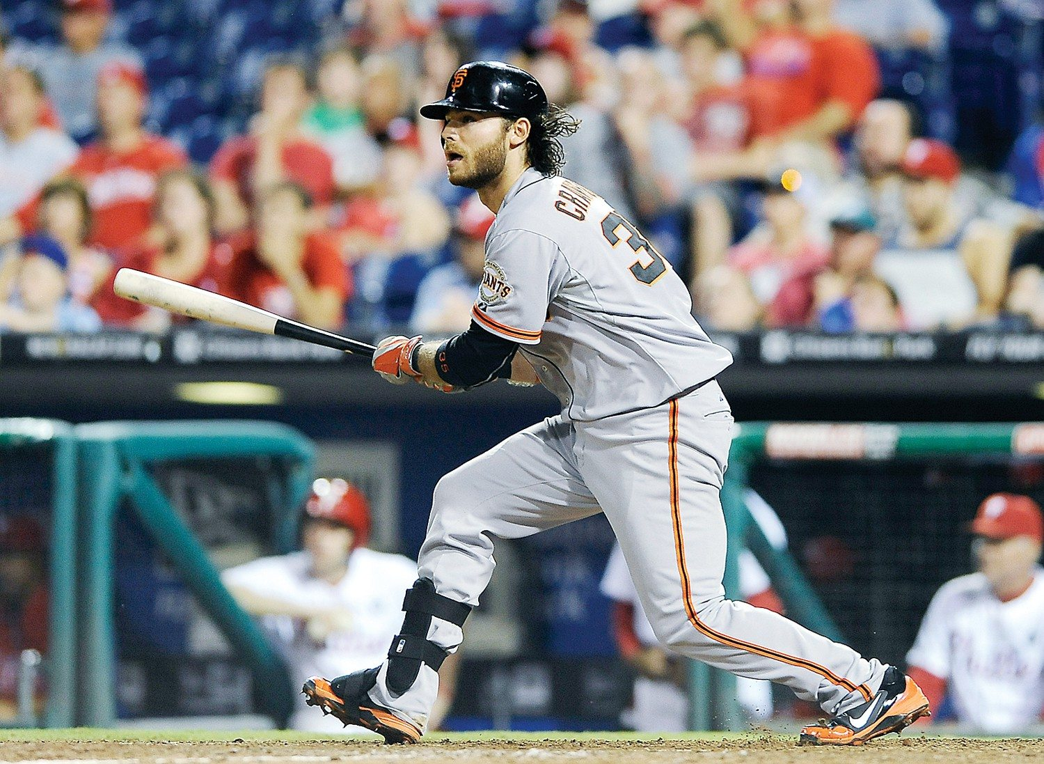Michael Perez/APThe Giants' Brandon Crawford strokes a bases-loaded double in the 14th inning to snap a 5-5 tie. Crawford came around to score.