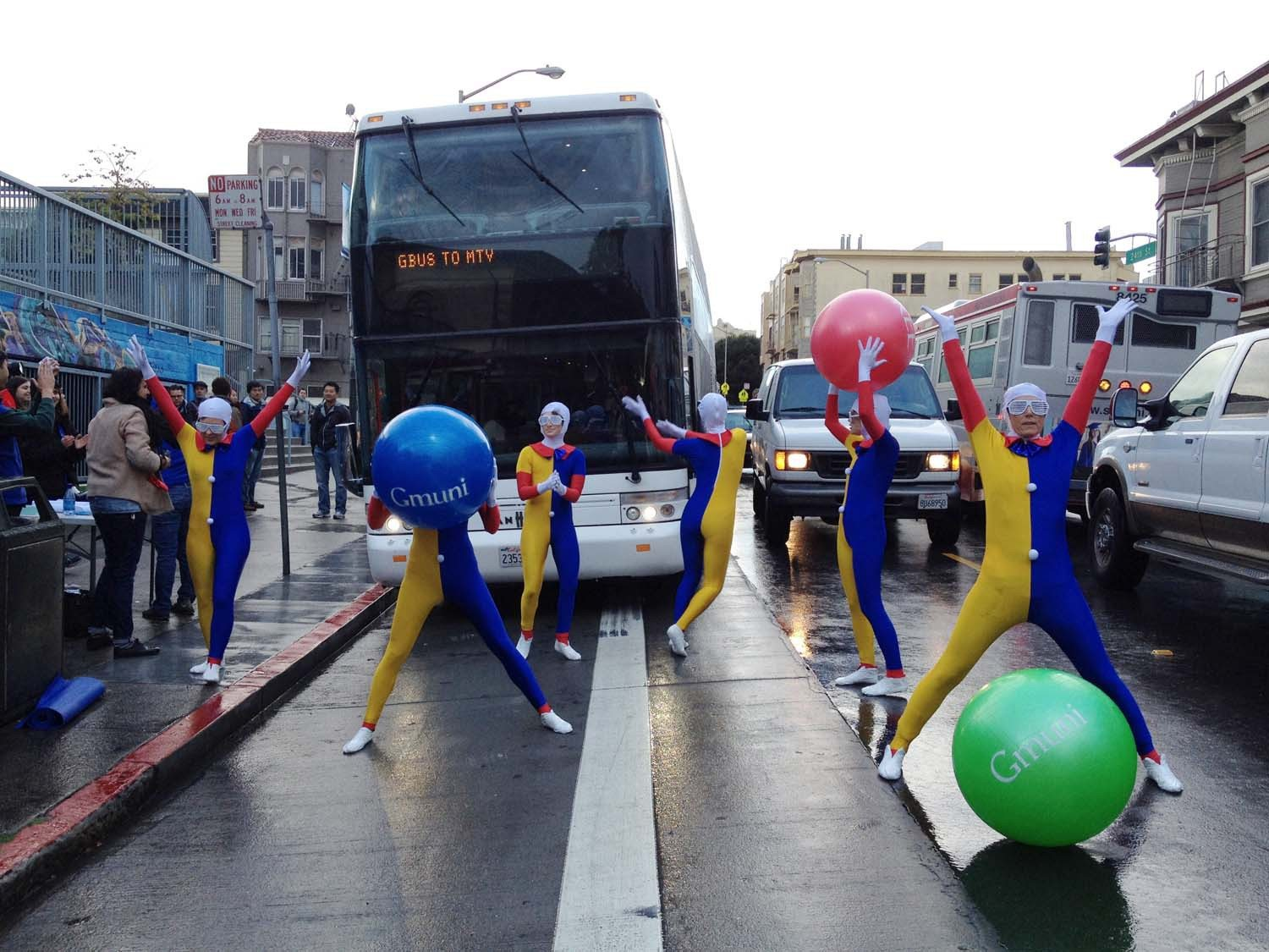 Jessica Kwong/The S.F. ExaminerProtesters blocked a Google bus at 24th and Valencia streets Tuesday morning.