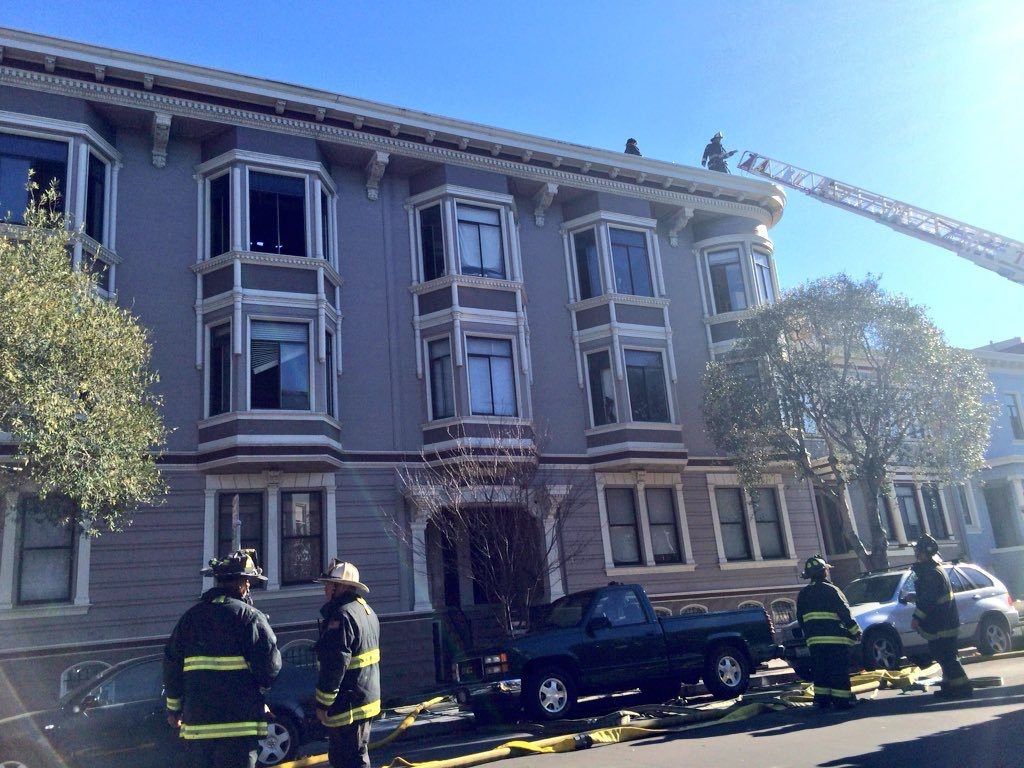 Firefighters controlled a two-alarm fire in the Inner Sunset on Tuesday. (Michael Barba/S.F. Examiner)