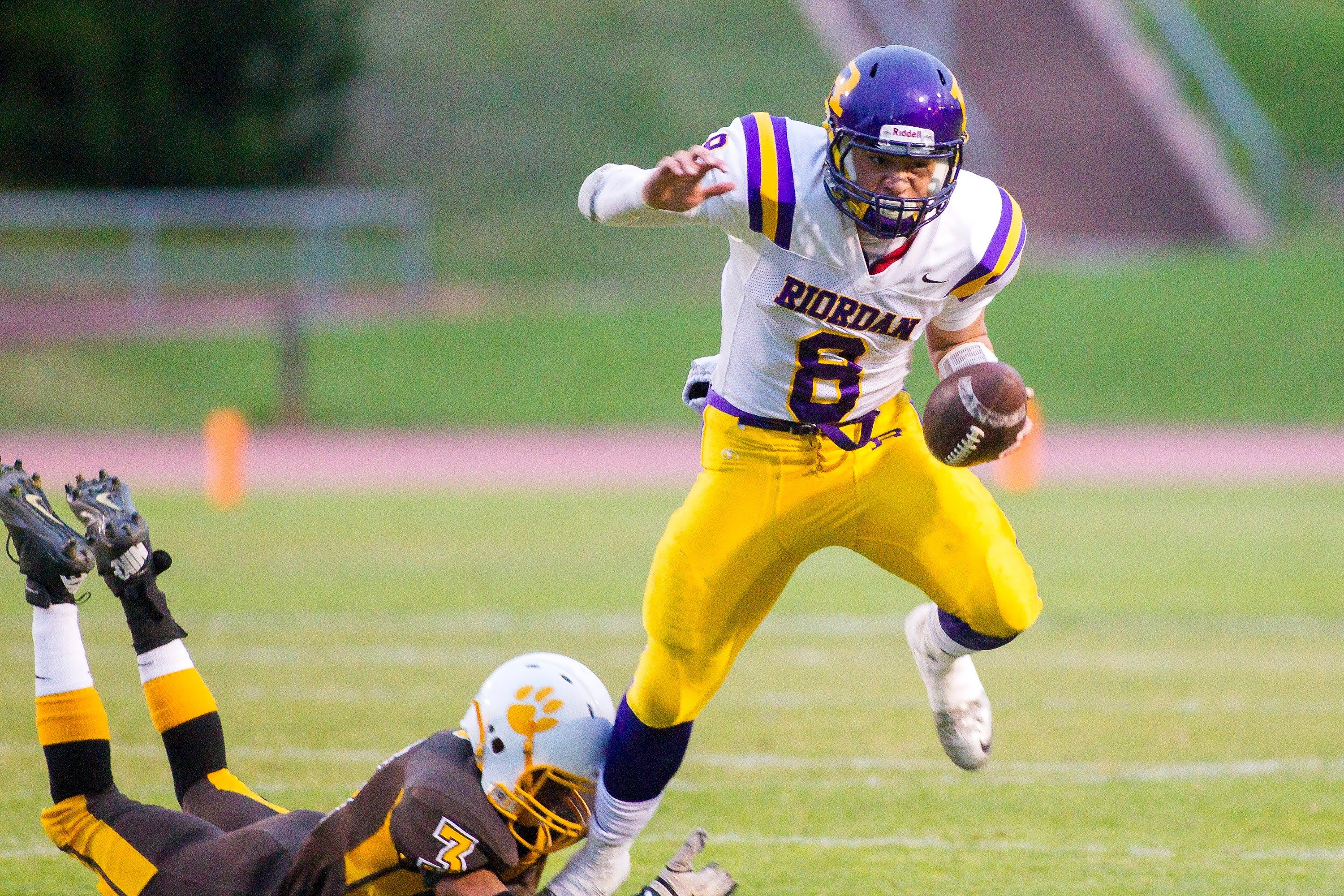 Eric Sun/Special to The S.F. ExaminerZach Masoli ran threw for 105 yards and also ran for 105 yards in leading Riordan past Mission on Friday night.