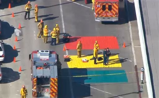 AP Photo/CBS-LAIn this aerial video frame grab provided by CBS-LA
