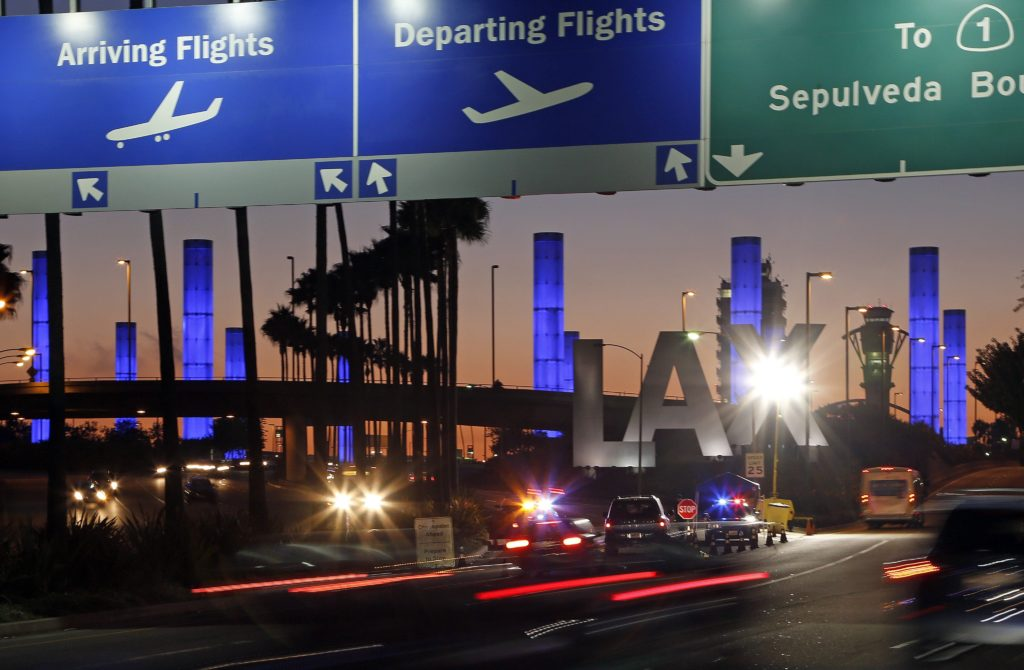 AP Photo/Reed Saxonighted pylons at the Century Boulevard entrance to Los Angeles International Airport