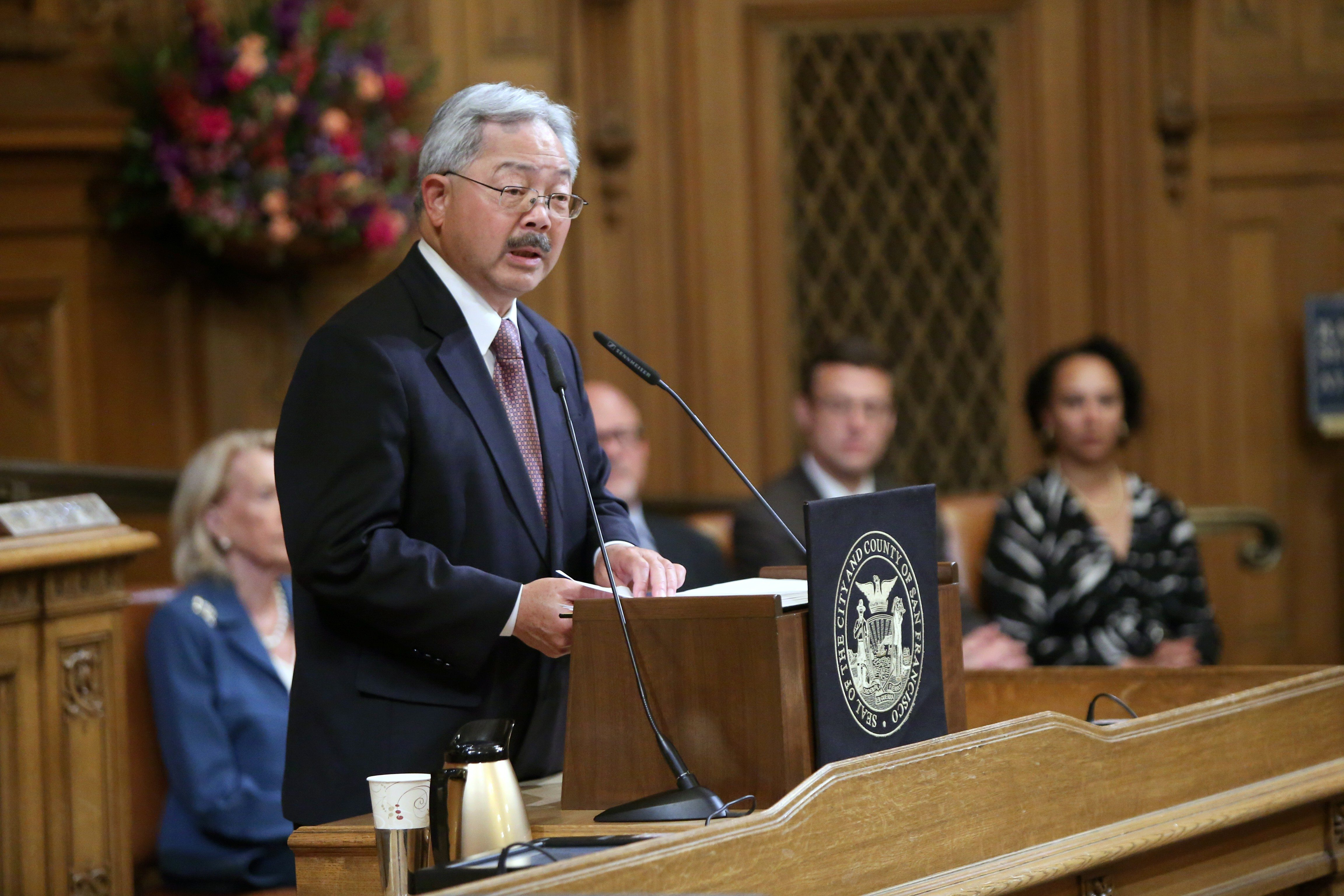 Mike Koozmin/The SF ExaminerSF Mayor Ed Lee is shown laying out his $8.9 billion budget proposal at City Hall on Monday