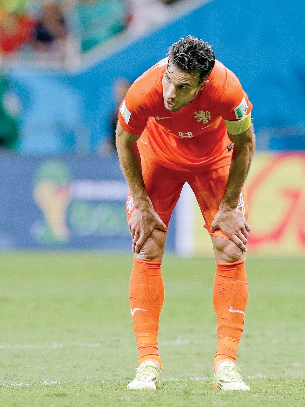 Matt Dunham/APA stomach ailment may keep Robin van Persie out of the Netherlands' World Cup match today against Argentina.