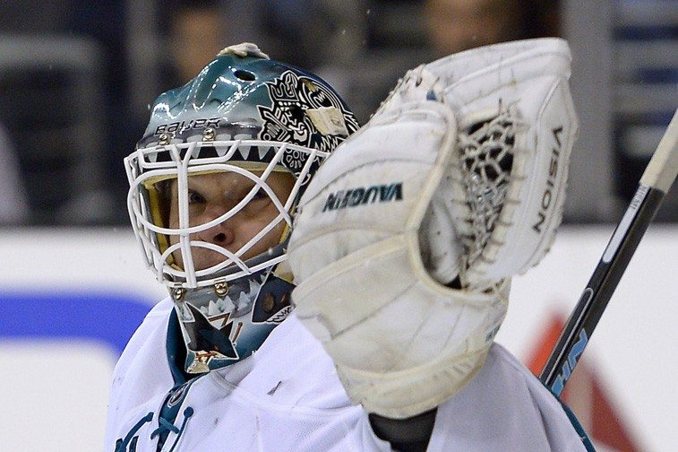 Mark J. Terrill/APSharks goalie Antti Niemi makes a glove save Wednesday against the Kings.