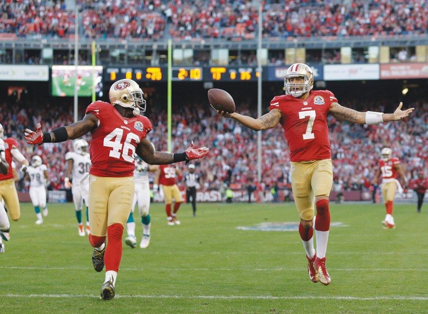 Marcio Jose Sanchez/APColin Kaepernick's (7) performance Sunday for the Niners was a lot like something Alex Smith would put together
