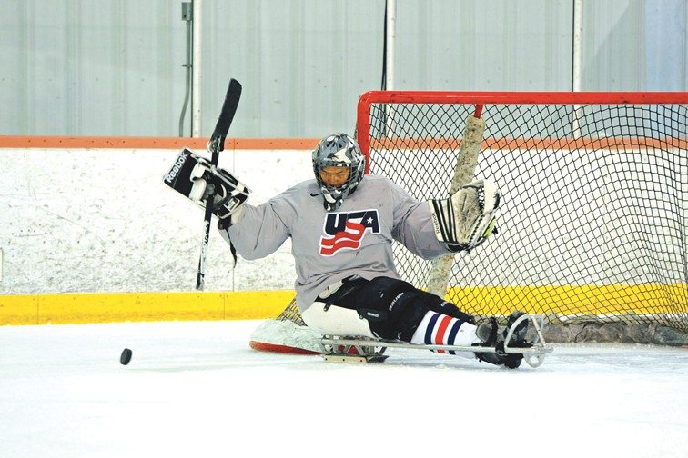 Meredith Niernan/WGBHSan Francisco native Jen Lee is a goalie on the U.S. sled hockey team and will compete in the Paralympic Games in Russia in March.