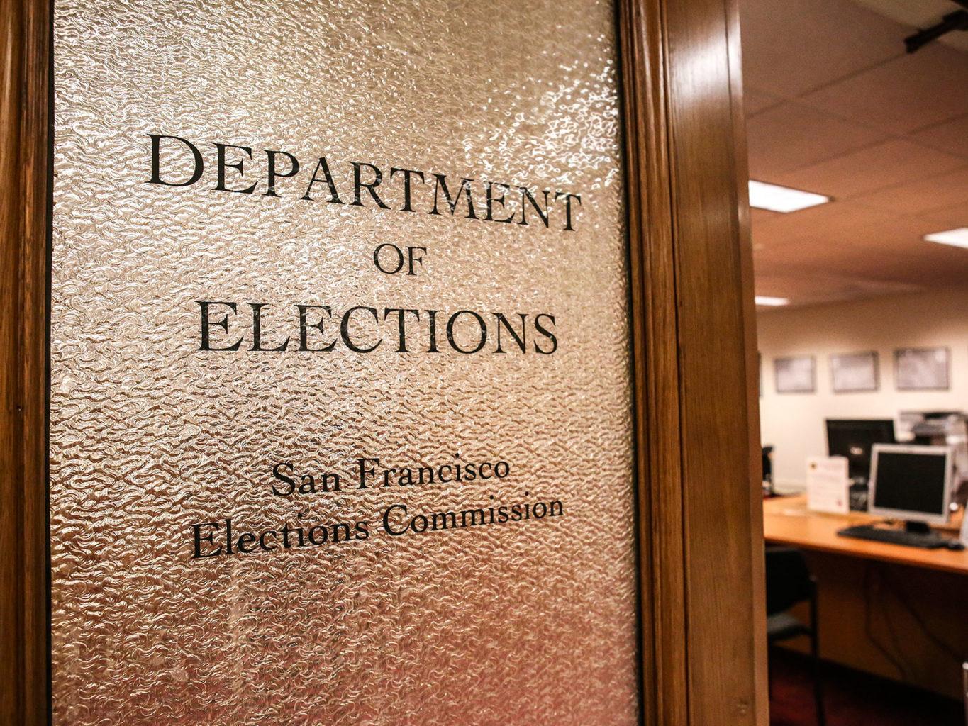 The Department of Elections inside City Hall in San Francisco is seen Jan. 31. (Mira Laing/Special to S.F. Examiner)