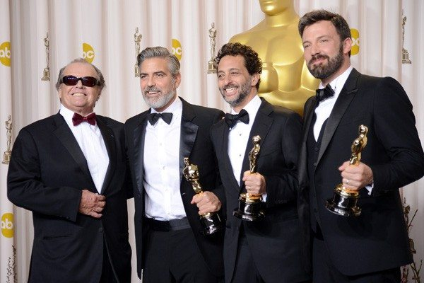 Jason Merritt/Getty ImagesPresenter Jack Nicholson with producers George Clooney and Grant Heslov and actor-producer-director Ben Affleck