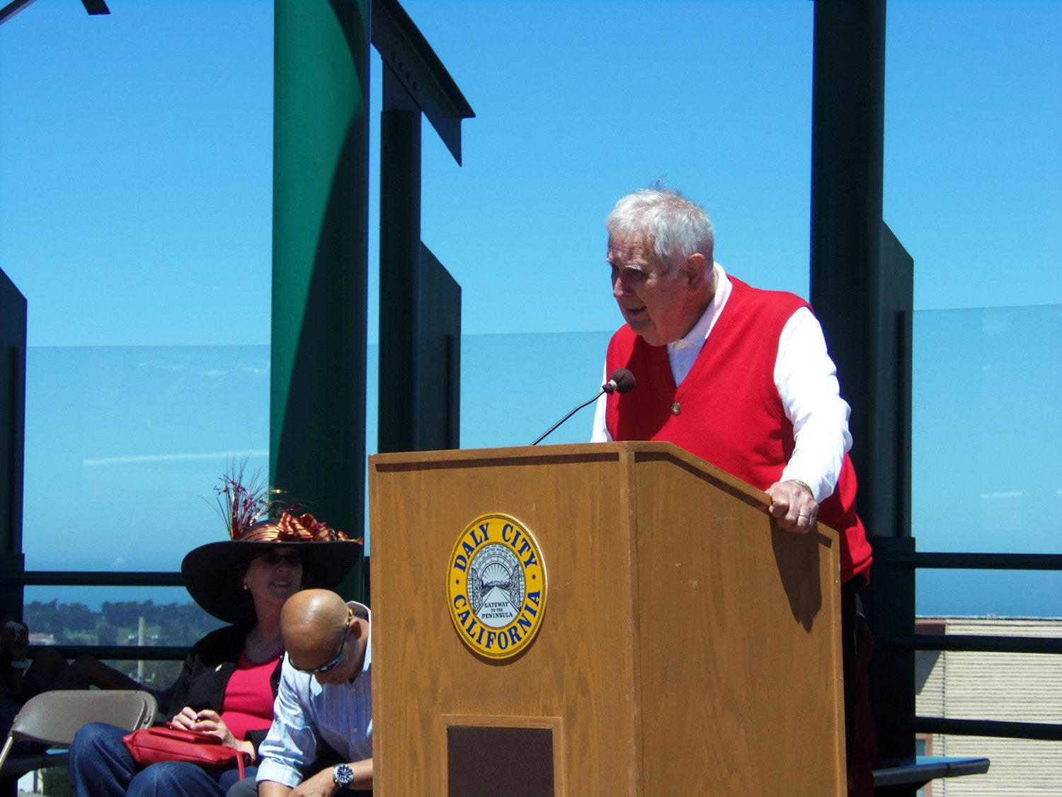 Brendan P. Bartholomew/Special to The S.F. ExaminerAlbert Teglia spoke at the ribbon-cutting ceremony for the new transit hub at Top of the Hill